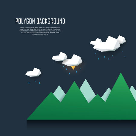low poly: Low poly landscape scene with storm clouds, rain and lightning. Polygonal thunderstorm background in modern minimalistic style.