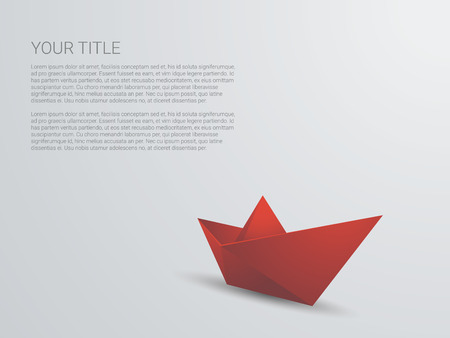 3d boat: Red paper boat 3d background. Polygonal origami ship with text space for business presentation.