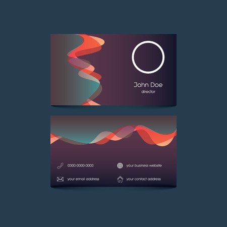 contact information: Elegant business card template with colorful background and overlay waves. User interface with contact information.