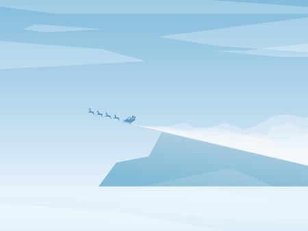 north pole: Christmas card template  background with santa claus flying. North pole scene snow landscape.