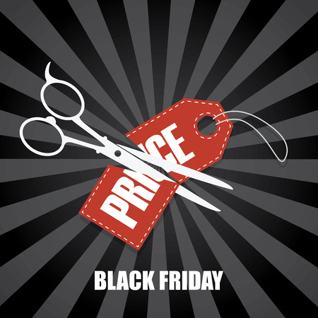 price tag: Black friday sale background. Scissors cutting price tag in half. Holiday sale poster