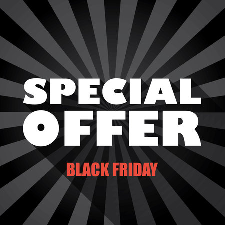 deal: Black friday sales template with special offer message and long shadow typography on dark background.