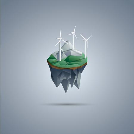 turbina: Las turbinas de viento en la isla flotante de baja poli. Renovables símbolo entorno de energía en el diseño poligonal moderna.