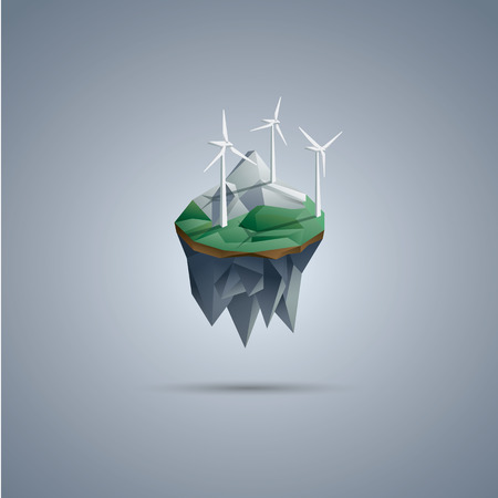 Wind turbines on low poly floating island. Renewable energy environment symbol in modern polygonal design. Illustration