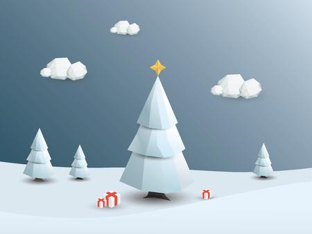 neige noel: Low poly paysage hivernal fond. 3D polygonale Arbres de Noël blanc avec de la neige. Illustration