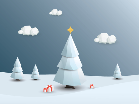 christmas gifts: Low poly winter landscape background. 3d Polygonal Christmas white trees with snow.