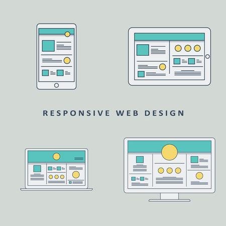website: Responsive web design mockup template background. Smartphone, tablet, computer website layout.