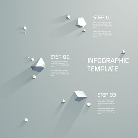 three objects: Infographics template background with 3d low poly abstract objects. Three steps menu options. Illustration