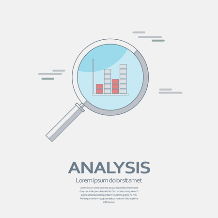 exploration: Business Analysis symbol with magnifying glass line icon and chart. Illustration