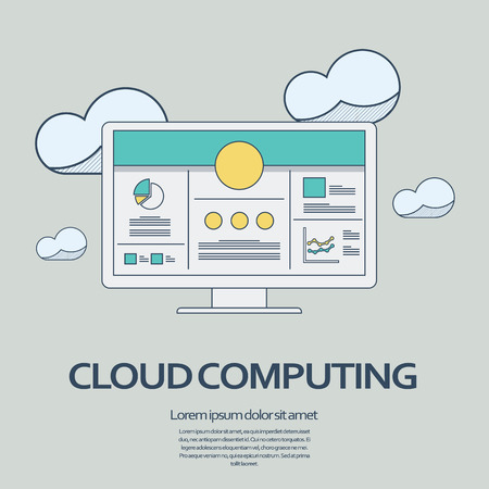 virtualization: Cloud computing concept presentation vector background with thin line symbol of computer. Illustration