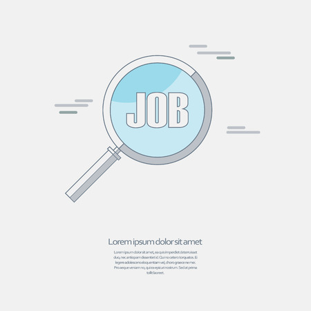 way up: Search for job symbol with magnifying glass in modern flat design. Hiring line icon, recruitment business. Illustration