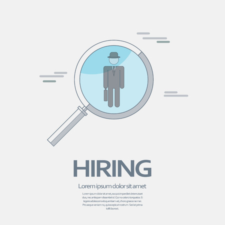 way up: Search for job symbol with magnifying glass in modern flat design. Hiring line icon, recruitment business. Stock Photo
