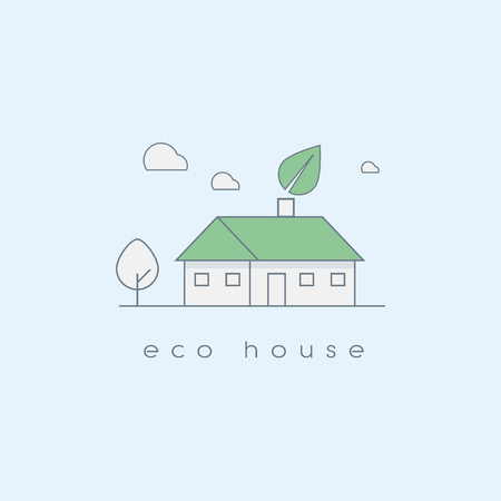 ecologic: Ecologic house concept in modern line art design. Environmentally and nature friendly home. Eps10 vector illustration. Illustration
