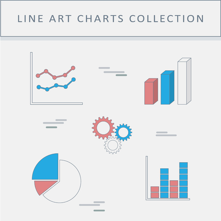 Set Of Line Icons Graphs And Charts Pie Chart Column Graph