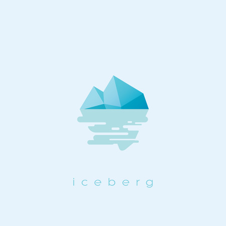 business risk: Simple and clean iceberg icon. Risk business symbol with sea reflection. Eps10 vector illustration.