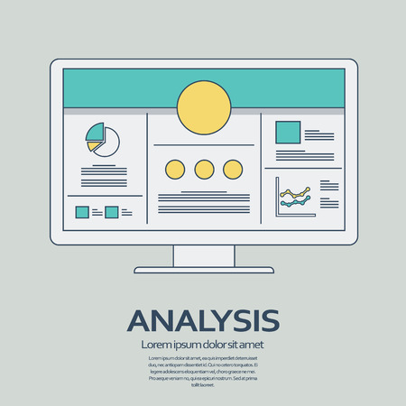 presentation screen: Business analysis background with computer devices and line art icons responsive design. Presentation graphs and charts on screen.  vector illustration.