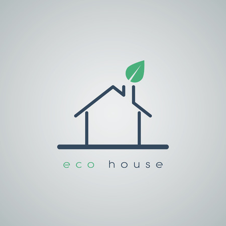 roof line: Eco friendly house icon in modern line art design with green leaf from chimney on roof. Environmental symbol for future housing. Eps10 vector illustration. Illustration