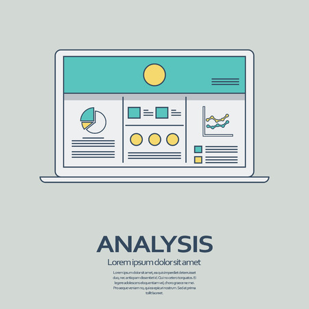 presentation screen: Business analysis background with laptop and line art icons responsive design. Presentation graphs and charts on screen.  vector illustration. Illustration
