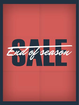 stock: End of season sale vintage banner on red paper vector background. Eps10 vector illustration. Illustration
