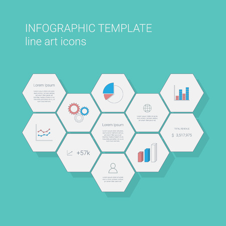 statistics icon: Flat design infographics template with business line icons user interface. Pie chart and other graphs icon for statistics or presentation. Eps10 vector illustration.