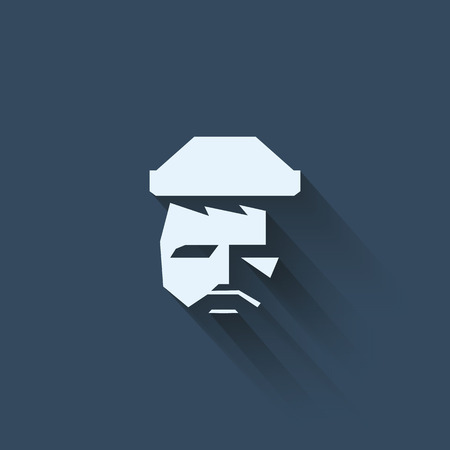 old man portrait: Lumbersexual hipster icon with man face and beard, hat. Vintage retro symbol for trendy fashion. Eps10 vector illustration.