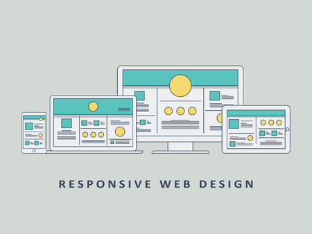 responsive: Responsive web design mockup template vector background. Smartphone, tablet, computer website layout. Eps10 vector illustration.