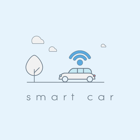 Smart car line art icon with wifi symbol. Future transportation technology concept. Eps10 vector illustration. Stock Illustratie