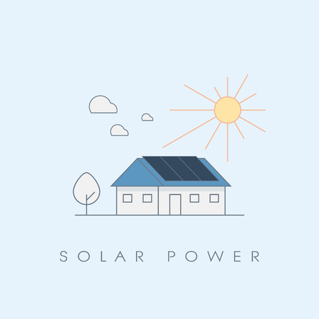 Solar power energy house line icon ecological concept. Photovoltaic panels on roof. Eps10 vector illustration. Illustration