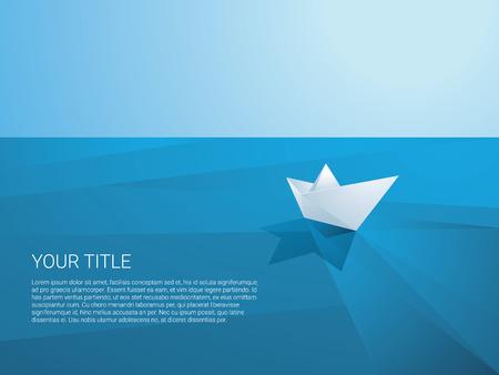 低ポリ紙の船が離れて多角形の海表面のベクトルの背景のセーリングします。折り紙グッズを発見、ミッション、自由と航海の象徴として出荷しま