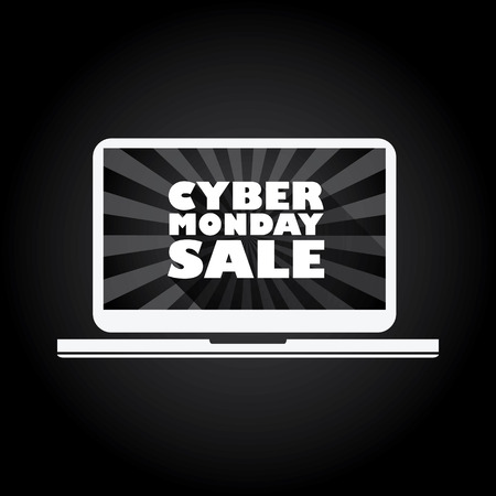 computer tablet: Cyber monday sale long shadow typography vector background banner. Laptop icon with text message. Eps10 vector illustration.