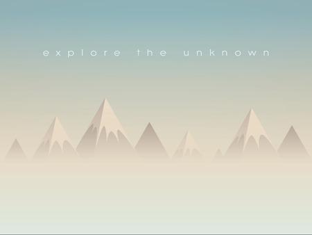 風景: 単純な低ポリ山風景ベクトルの背景です。多角形の三角形形峰雲や霞の上。Eps10 のベクター イラストです。  イラスト・ベクター素材