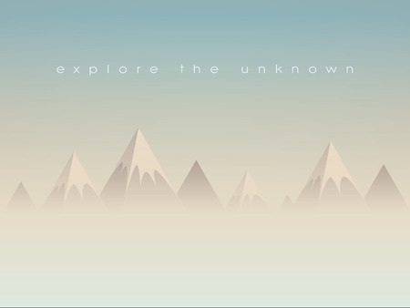 Simple low poly mountains landscape vector background. Polygonal triangles shape peaks above clouds or haze. Eps10 vector illustration.
