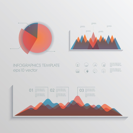 materials: Material design pie chart and graphs vector collection. Set of business icons for financial report. Eps10 vector illustration.