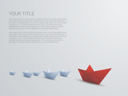 Leadership business concept vector with red paper boat leading white. Presentation template with space for text. Eps10 vector illustration. Vettoriali