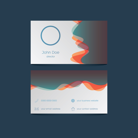 contact information: Elegant business card template with colorful background and overlay waves. User interface icons for contact information. Eps10 vector illustration