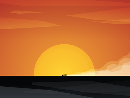 speeding: Fast car driving on dusty road with sunset in background. Bright orange sun and sky against black landscape. Eps10 vector illustration.