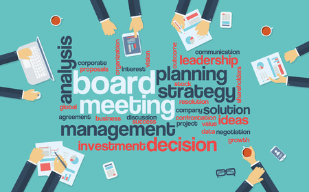board meeting: Board meeting abstract vector background with word cloud and management discussing big decisions around table. Eps10 vector illustration.