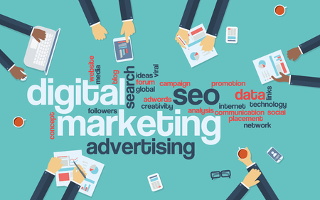 keywords background: Digital marketing concept infographics vector background. Word cloud with online advertising keywords and managers analysing data preparing strategy or campaign. Eps10 vector illustration.