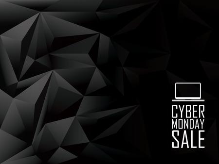 schwarz: Cyber ??Monday verkaufen Low-Poly-Vektor-Hintergrund Banner. Icon Laptop mit Textnachricht. Eps10 Vektor-Illustration.