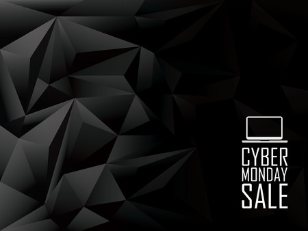 black: Cyber monday sale low poly vector background banner. Laptop icon with text message. Eps10 vector illustration.