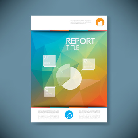 title page: Report cover template with pie chart symbol and 3d low poly vector background. Business brochure or presentation title page. Eps10 vector illustration. Illustration
