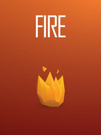 flames vector: Fire element symbol in modern low poly design. 3d polygonal orange flames vector sign. Eps10 vector illustration.