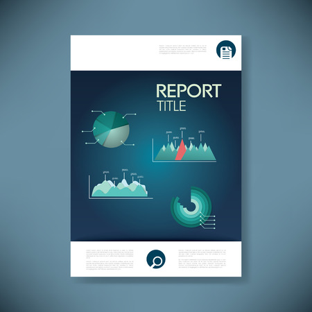 page design: Report cover template for business presentation or brochure. Data analysis pie chart and graphs in material design style vector background. Eps10 vector illustration.
