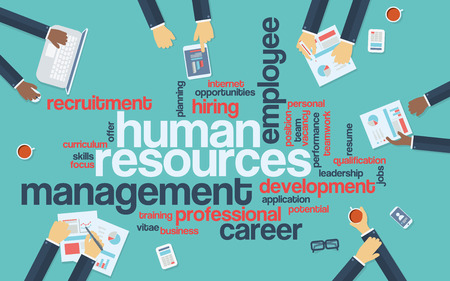 human: Human resources flat design infographics with word cloud. Recruitment and career development presentation. Eps10 vector illustration.