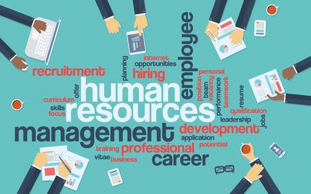 recursos humanos: Recursos humanos planas infografía de diseño con nube de palabras. Reclutamiento y presentación de desarrollo de la carrera. eps10 ilustración vectorial.