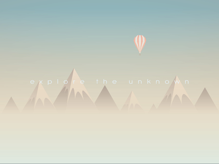above clouds: Low poly mountains landscape vector background with balloon flying above clouds or mist. Symbol of exploration, discovery or outdoor adventures. Eps10 vector illustration. Illustration