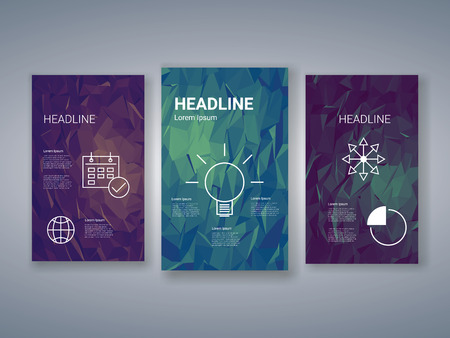 graphs and charts: Low poly colorful background set with business charts, graphs, symbols. Presentation, brochure, infographics template. Geometric polygonal design. Eps10 vector illustration.