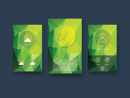 low poly: Modern mobile user interface template with smartphone screens on green low poly vector background. Eps10 vector illustration.