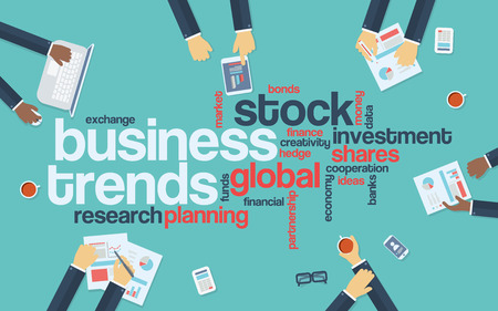 business trends: Business trends flat design infographics with word cloud. Global data analysis and research presentation. Eps10 vector illustration.
