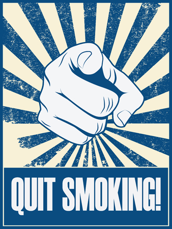 quit smoking: Quit smoking motivational poster vector background with hand and pointing finger. Health lifestyle promotion retro vintage grunge banner. Eps10 vector illustration.
